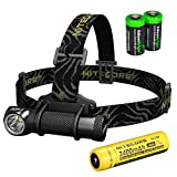 Nitecore HC30 1000 Lumens CREE XM-L2 U2 LED headlamp with Genuine Nitecore NL189 18650 3400mAh Li-ion rechargeable battery and Two EdisonBright CR123A Lithium Batteries