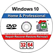 Windows 10 Home and Professional Compatible 32/64 Bit DVD. Recover, Repair, Restore or Install Windows To Fact