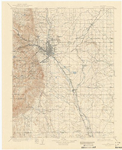 YellowMaps Colorado Springs CO topo map, 1:125000 scale, 30 X 30 Minute, Historical, 1909, updated 1942, 20.3 x 16.5 IN - (Cascade Springs Fountain)
