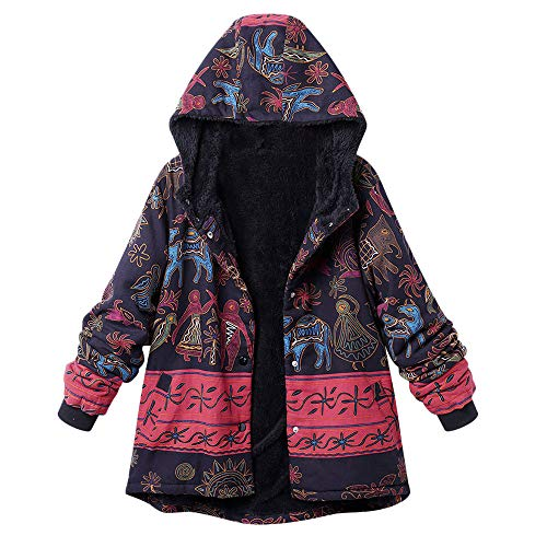 XOWRTE Women's Coat Plus Size Vintage Floral Print Jacket Hooded Pockets Warm Winter Outerwear