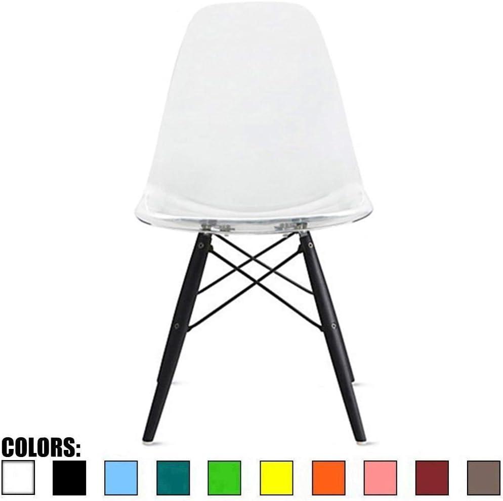 2xHome CH-RayBlkLeg(Clear) Dining Chair