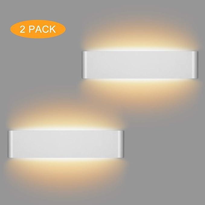 39 opinioni per LEDMO 2 Pezzi 12W Lampada da Parete Bianco Caldo 3000K Applique da Parete con Up