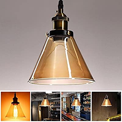 "7"" Diameter x 9"" Height Amber Glass Pendant Light Cone Shade Hanging Lamp for 40W Bulb Professional Decoration Modern Vintage Classic Interior Porch Lighting"