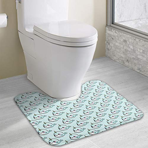 Dbou Seamless Art Print Whale Unicorns U-Shaped Absorbs Moisture Non Slip Bathroom Rugs Toilet Carpet Floor Mat, 15.8