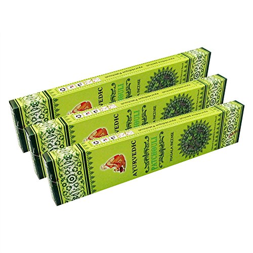 Ayurvedic Patchouli Masala Incense Sticks Pack of 3 Boxes 15gms Each Attracts Money, Love, Growth