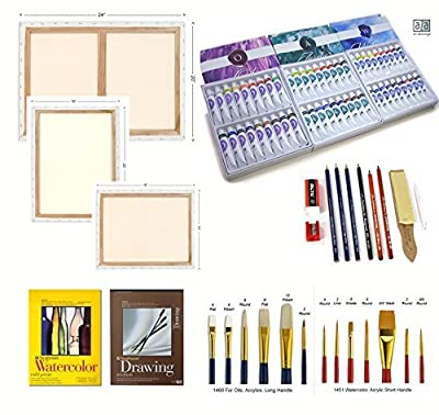 Artist Quality Supplies Set Complete Re-Fill Includes 54 Tubes Paint, 3 Canvses, 2 Brush Sets, Made in USA Strathmore Watercolor Pad and Drawing Pad, Made in US Generals SketchMate Complete Drawing Set