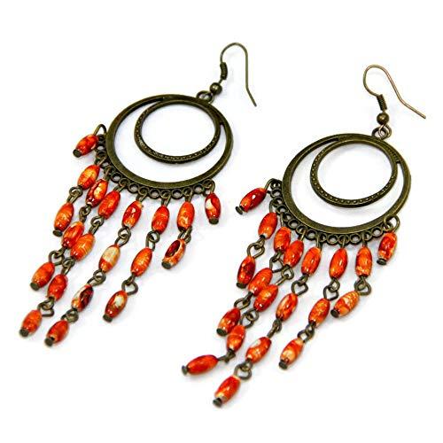 (Orange Dangling Chandelier Bronze Plated Earrings)