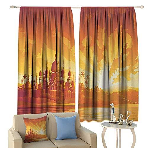 HoBeauty Asian, Window Curtain Drape, Orange City Under Dragon Fire Sky Palace Mythical Magical Legendary City Scenery, Customized Curtains,(W55 x L39 Inch, Orange Yellow