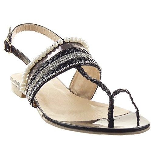 Sopily - Chaussure Mode Sandale Ouverte Cheville femmes strass diamant Perle Lignes Talon compensé 1.5 CM - Noir