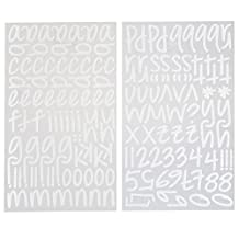 Darice 1219-52 159-Piece Glitter Alphabet Sticker, Lower Case Letters and Numbers with Script Font, White