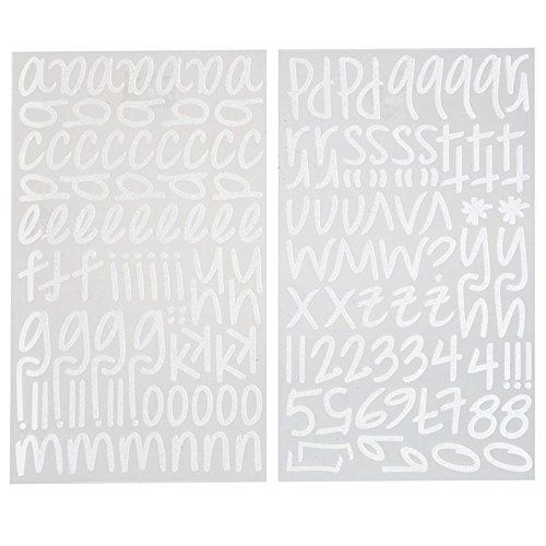 Script Alphabet Letters - Darice 1219-52 159-Piece Glitter Alphabet Sticker, Lower Case Letters and Numbers with Script Font, White