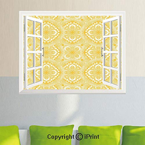 Delicate Wall Decal Sticker,Oriental Doily Napkin Motifs Featured Asian Decorative Elements Curves,27.5x23.6inch,Open Simulation Window StickersYellow and White