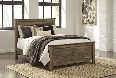 Signature Design by Ashley B446-54 Trinell Panel Footboard, Queen - Oak Queen Bed Set