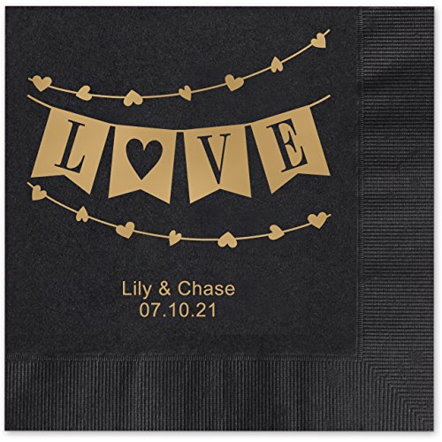 Banner Love Personalized Beverage Cocktail Napkins - 100 Custom Printed Navy Blue Paper Napkins with choice of -