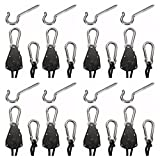 4 Pair – Adjustable, Ratcheting, Rope Hangers for Hanging Equipment, Indoor/Outdoor/Garage Storage and Tie-Downs with Screw-In Hook Hardware For Sale