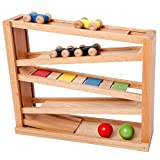 Wooden Ramp Racer. Race Track for Toddlers and 3 Wood Cars and 2 Balls,Toddler Toys for 1 2 3 Year Old Boy and Girl Gifts