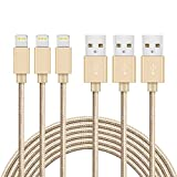 Lightning Cable,Irady 3Pack 3.3ft / 1M Nylon Braided USB Cord Charging Cable Charger for iPhone 7 6 6s, iPhone 7 Plus 6 Plus 6s Plus, iPhone 5s 5 Se, iPad, iPod mini Air Pro iPod touch nano 7 and More, Gold
