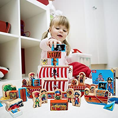T.S. Shure ArchiQuest Wooden Pirate Blocks Play Set & Storybook: Toys & Games