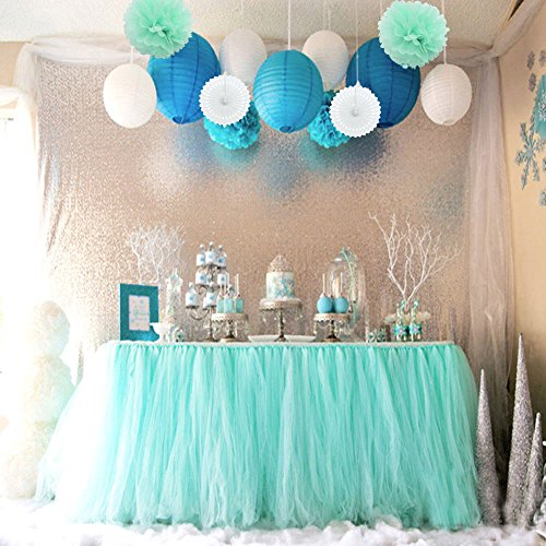 Sopeace Tissue Pom Poms Flowers Paper Lanterns and 1 Tutu Table Skirt for Mermaids Under the Sea Theme Bridal Shower Wedding Ball Party Supplies Decoration ()