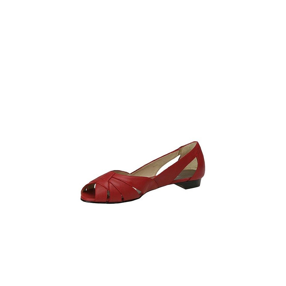 Mark Peep Lemp Classics Womens Zuzu Peep Mark Toe Ballet Flats B001NF0H7W 6 3A US|Red 68aaf8