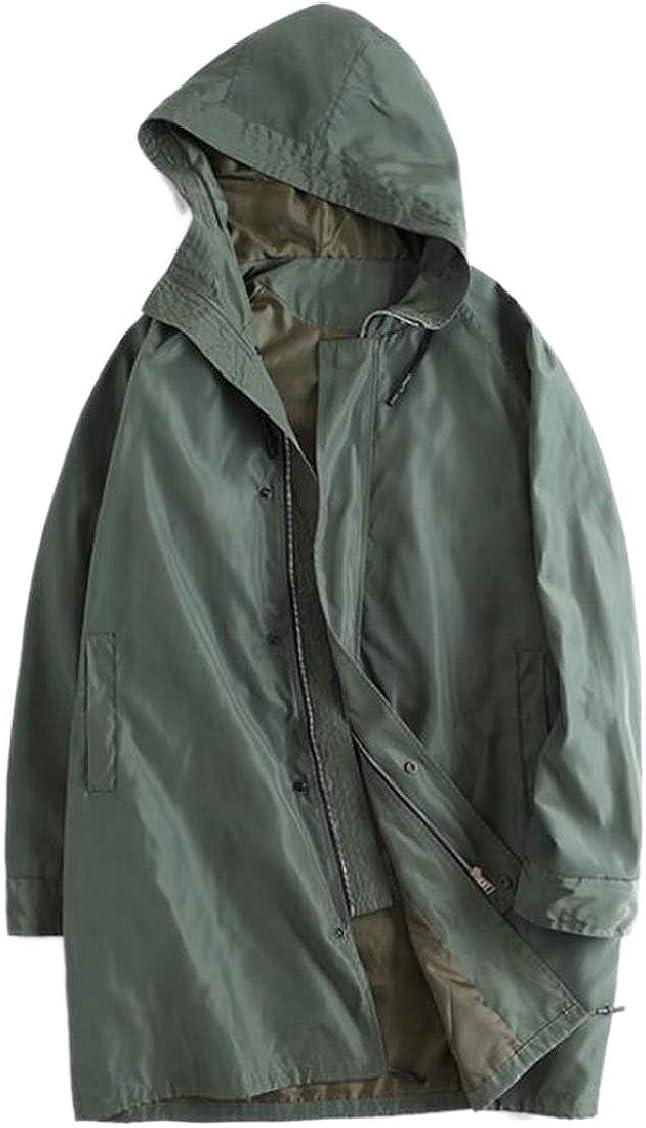XQS Mens Hood Plus-Size Mountain Trench Coat Hiking Jacket Trenchcoats