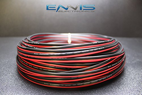 (14 GAUGE 25 FT RED BLACK SPEAKER ZIP WIRE AWG CABLE POWER STRANDED COPPER CLAD BY ENNIS)