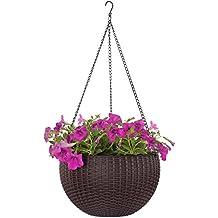 Dia 10.4 in. Round Self-Watering Hanging Planters for Indoor Outdoor Plants Plastic Resin Garden Hanging Baskets for Plants (brown)