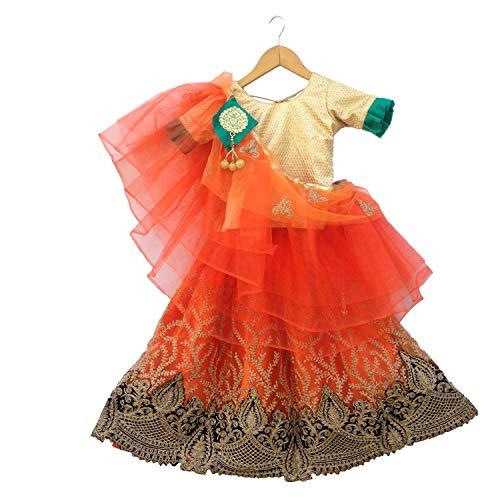 Firststepp Ethinc Shop Bridal Embroidery Work Indian Bollywood Designer Lehenga Choli. Orange