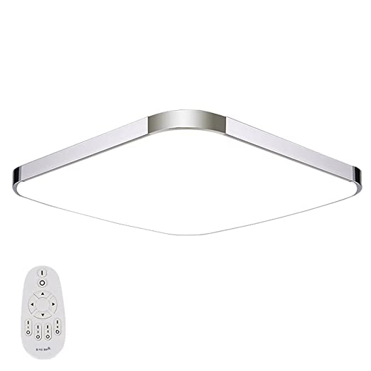 EtimeR LED Deckenleuchte Dimmbar Deckenlampe Modern Wohnzimmer Lampe Schlafzimmer Kche Panel Leuchte 2700 6500K Mit Fernbedienung Silber 12W 30x30cm