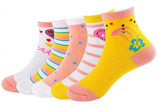 GZMM 5 Pack Kids Socks Cotton Crew Seamless Girls Socks 3-9 Years Old