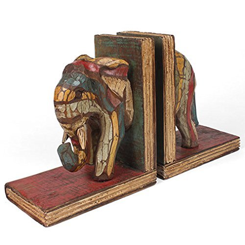 Fair Trade Handcrafted Rustic Elephant Wooden Bookends
