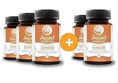 Highest Potency Turmeric (Curcumin) - 90 Tablets - 500mg - 95% Curcumin C3 Complex + 5% Black Pepper (BioPerene) - Best Anti-inflammatory Supplement Herb - 5 Pack - by Ancient Health Care