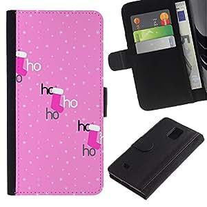 APlus Cases // Samsung Galaxy Note 4 SM-N910 // Rosa Ho polca punto Navidad Navidad Medias // Cuero PU Delgado caso Billetera cubierta Shell Armor Funda Case Cover Wallet Credit Card