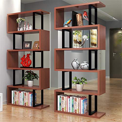 (Bookshelf - Bookcase Floor Steel Wood Rack Living Room Modern Partition Display Combination Display Cabinet Cosmetics Jewelry Stand)