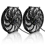 "12"" Electric Radiator Cooling Fan Assembly Kit 1730CFM Universal Slim Engine Fan Mounting Kit Reversible 12V 80W (2X12 inch)"
