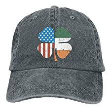 Lotus network Unisex Clover American Flag Dyed Washed Denim Cotton Baseball Cap Hat Black
