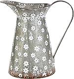 RAZ Imports Metal Decorative Pitcher Vase with Flowers - 12 inch
