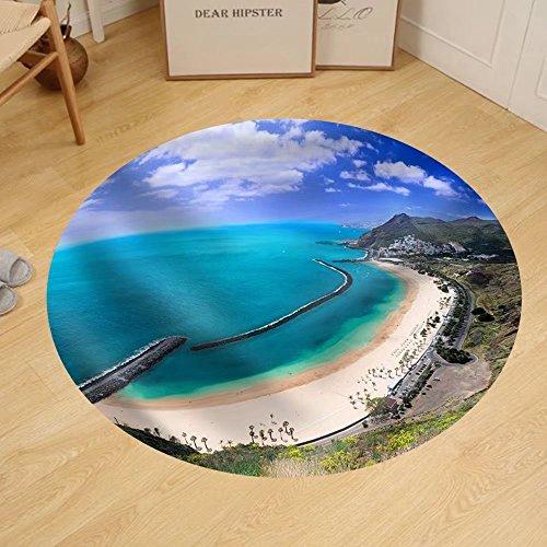 Gzhihine Custom round floor mat Famous Beach near Santa Cruz De Tenerife in the North of Tenerife Canary Islands Spain by Gzhihine