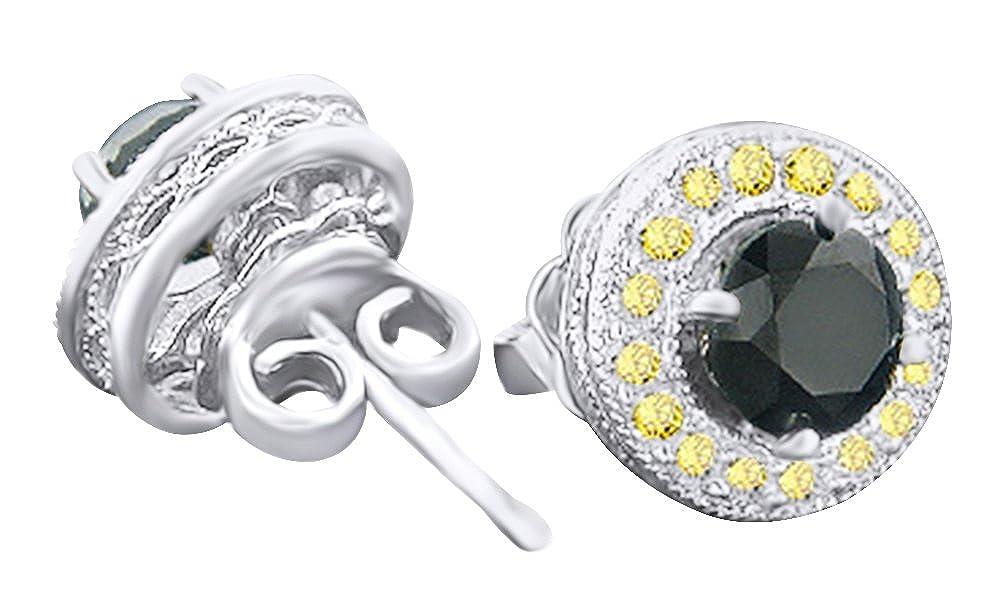 1.92 cttw, rund, SchwarzGelb, mit Diamant-Ohrstecker, 14 kt 585, Weißszlig;Gold 14 Karat (585) WeißGold