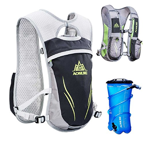 TRIWONDER Hydration Pack Backpack 5.5L Outdoors Mochilas Trail Marathoner Running Race Hydration Vest (Grey - with 2L TPU Water Bladder)