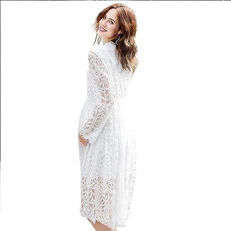 Vestido de maternidad Estiramiento suave Falda larga Encaje Largo ...