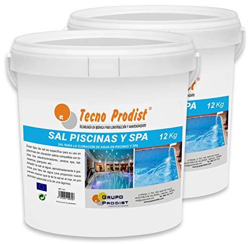 🥇 Tecno Prodist Sal Piscinas Sal Especial para la cloración Salina de Piscinas y SPA – Pack 2 Cubos de 12 KG Fácil Aplicación