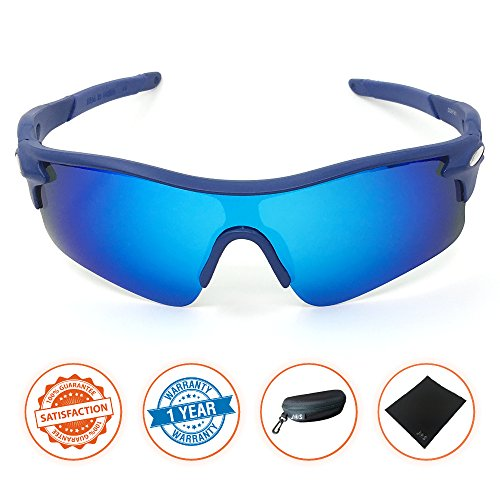J+S Active PLUS Cycling Outdoor Sports Athlete's Sunglasses, Polarized, 100% UV protection (Blue Frame / Blue Mirror - Womens Sunglasses Sports