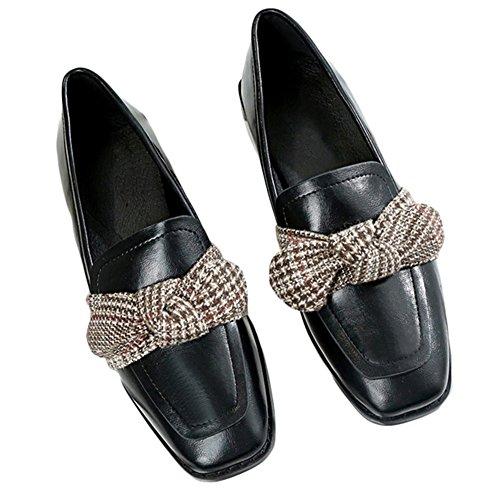Btrada Womens Bowknot Slip On Penny Mocassini Punta Quadrata Mocassini Driving Shoes Retro Flat Pantofole Nero