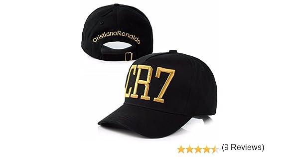 Gorra de Cristiano Ronaldo CR7 (negro con logo amarillo): Amazon ...