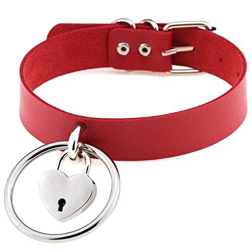 RedSonics Sexy Harajuku Handmade Leather Choker belt Rock Punk Goth Collar belt O-Round Heart Lock Stud Necklace [ Red ] ()