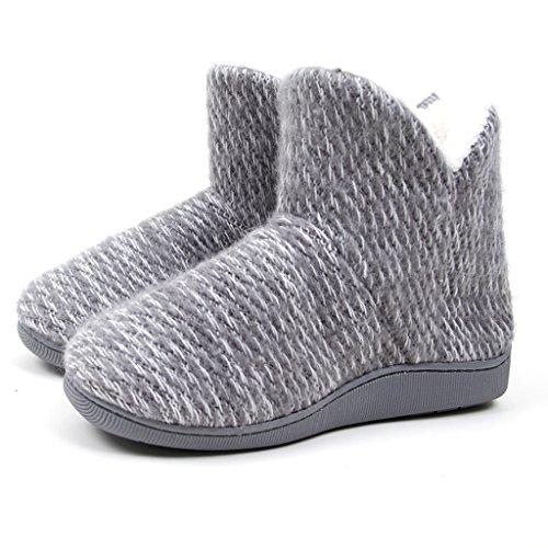 Chaussons Pantoufles Haute Pour Aider les Femmes de Coton Épais Hiver Maison Intérieure et Extérieure Antidérapante Chaussures à Semelles Souples (Couleur : Gris, Taille : EUR:38-39)