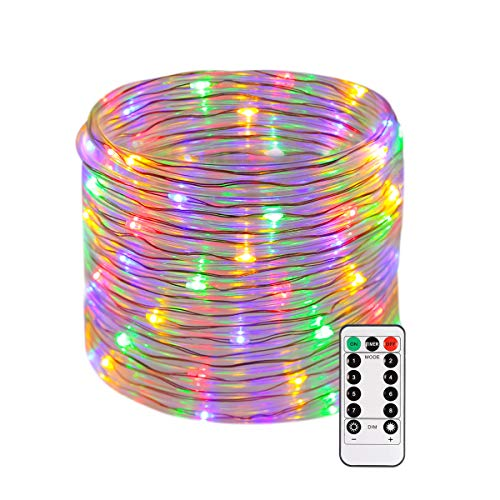 B-right 46ft Rope String Lights, Battery Powered Remote 8 Modes/Dimmable/Timer, Waterproof Decorative Lights for Bedroom Patio Festival Party Garden Tree (Multi-Color)