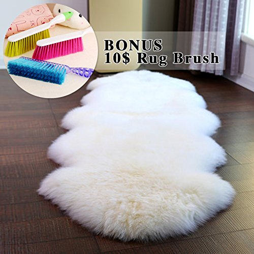 ABUSA Australian Sheepskin Rug Chair Cover Seat Pad Shaggy Area Rug for Couch Sofa Floor One Pelt Ivory White 2.2 x 7.8 feet