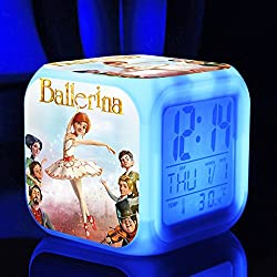 Ballerina the Dreams of becoming Ballerina Felicie Victor Alarm Clock with 7 Changing Colors Cute Cartoon LED Clock (Style 3)